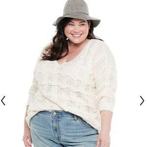 Evri 4X Wavy Fringe Pointelle Sweater Cream